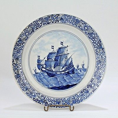 Old or Antique Dutch Delft Plate with Ships by Claeuw - Sailing Boat Schooner PC