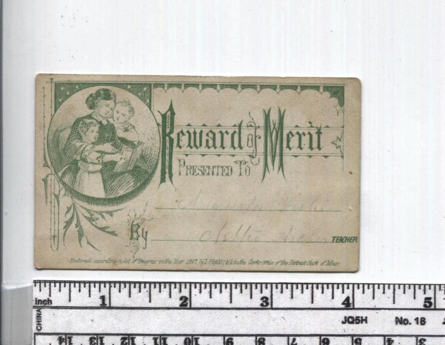 Antique Reward of Merit - 1867 Civil War Era Card - Reading Book to Kids - Mass.