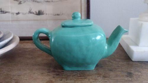 Antique Vintage Handmade Studio Pottery Teapot Mint Green 1930s