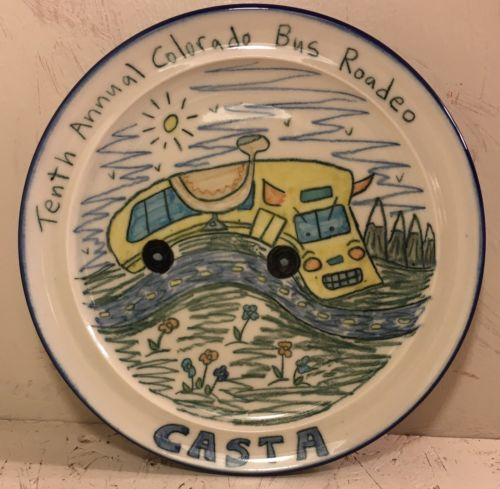 Tom Edwards Wallyware Pottery Plate/Trophy 10th Annual Colorado Bus Rodeo CASTA
