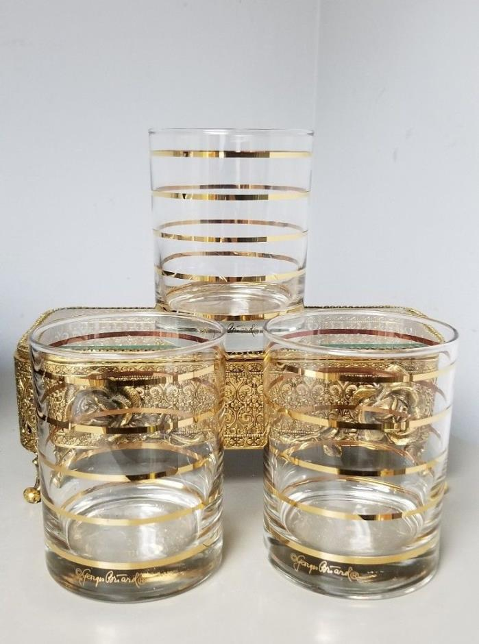 VTG~3~Georges Briard GOLD STRIPED Bar Glass Scotch Rocks Old Fashioned Glasses