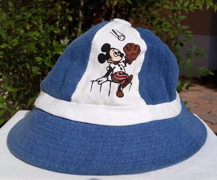 Vintage Disney Mickey Mouse Goofy Donald Duck Sports Bucket Hat Blue Small