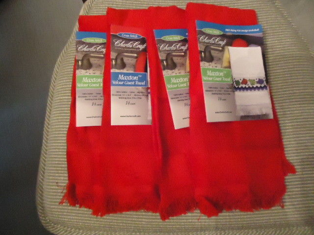 (4) Maxton Velour Guest Towel 14 Count 12