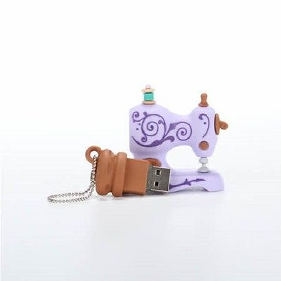 LILAC ANTIQUE SEWING MACHINE SHAPED USB FLASH DRIVE 4GB, MAC & PC Compatible NEW