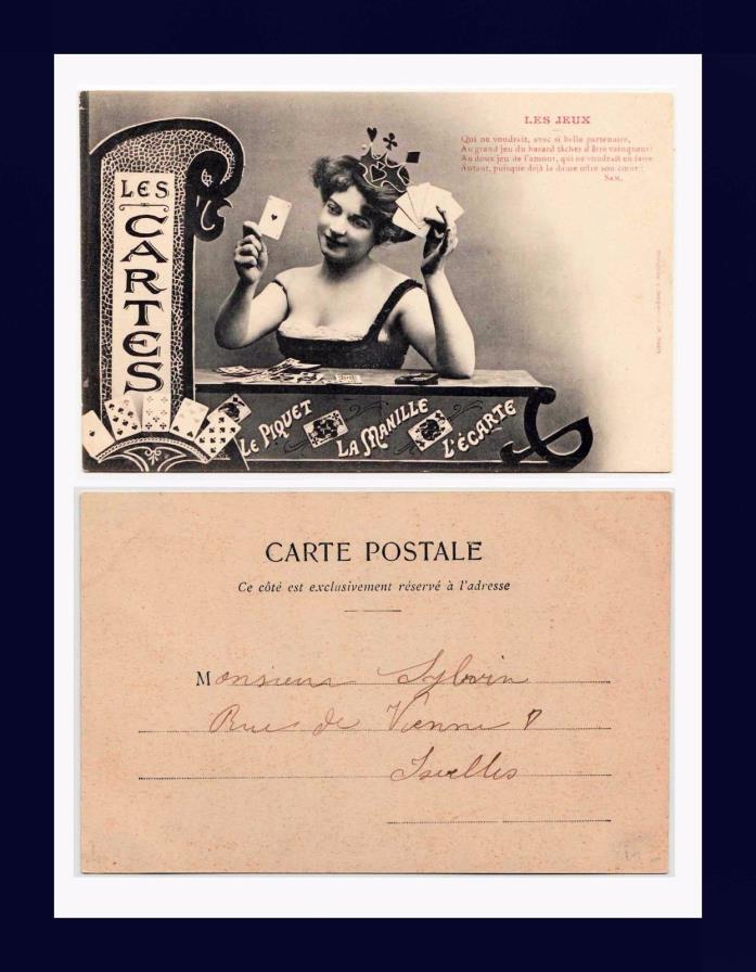 GAMBLING ACE OF HEARTS & CARD GAME UNDIVIDED BACK POSTCARD PUBLISHED CIRCA 1905