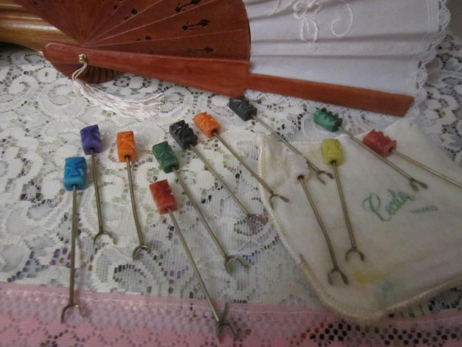 Vintage Rare H'orderves PICKS Set Carving MarbleTiki Tikki Mask 12