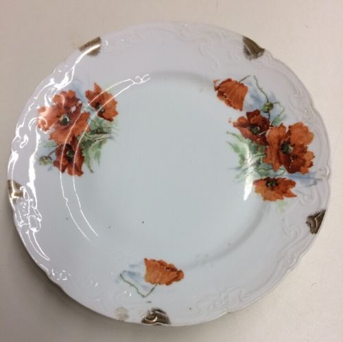 Vintage Hand Painted Poppies & Gold Scalloped Plate Floral Flowers