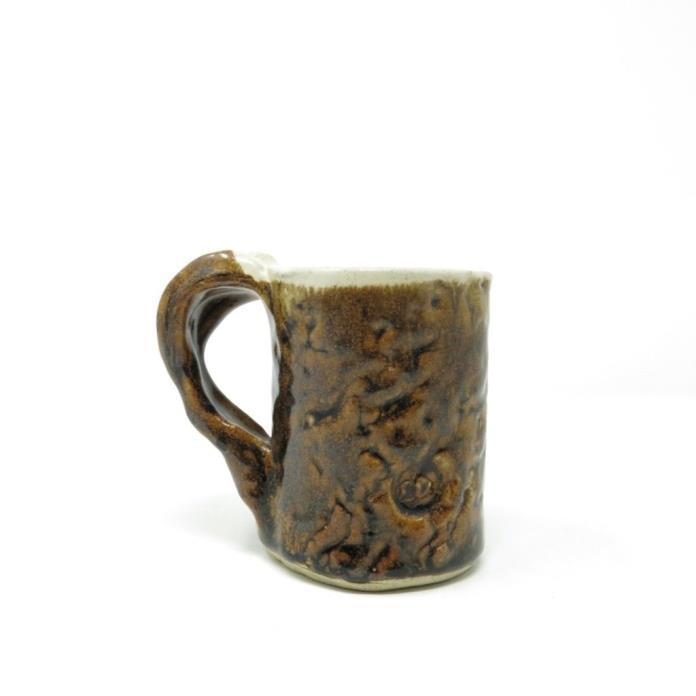 Vintage Chunky 70's Faux Tree Bark Hand Made Pottery Mug Rustic Stoneware