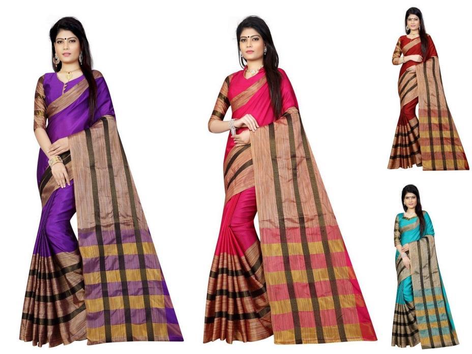 designer sari indian bollywood pakistani saree kanchipuram cotton silk fashion 6