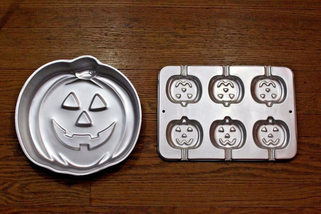 Wilton Cake Pans 2 Pumpkin Pop 2105- 8100 Jack o lantern 502-2928 Halloween