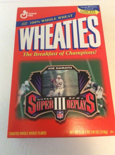 1996 JOE NAMATH CEREAL, SUPER BOWL III, WHEATIES, SUPER REPLAYS, BOX SEALED
