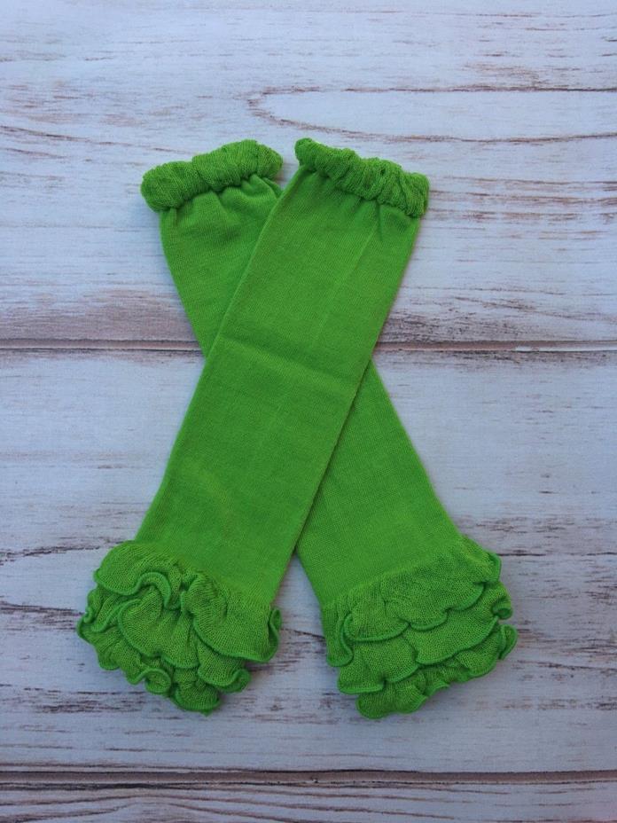 St. Patricks day Green  ruffled Baby Toddler girls Leg Warmers