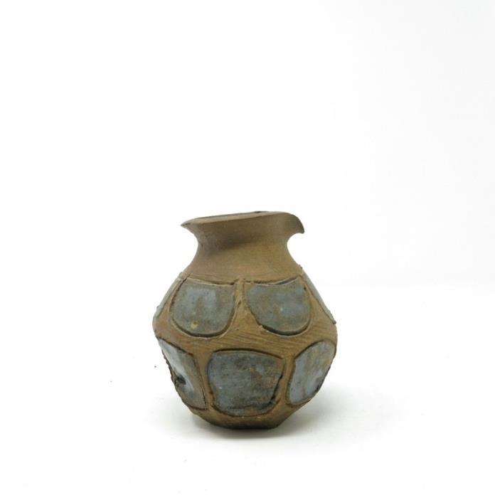 Vintage STUDIO POTTERY Hand Thrown VASE POT Mid-Century Modern Stoneware