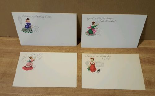 8 Vintage Postcards ~ Victorian Lady Note cards to send to friends.