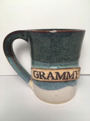 Stegall Handcrafted Art Pottery Stoneware Cup Mug - Grammy - Signed Glazed