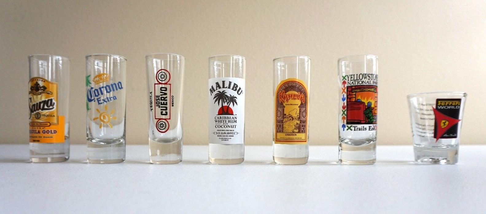 Lot of Shot Glasses - Ferrari, Sauza, Kailua, Corona, Jose Cuervo, Malibu
