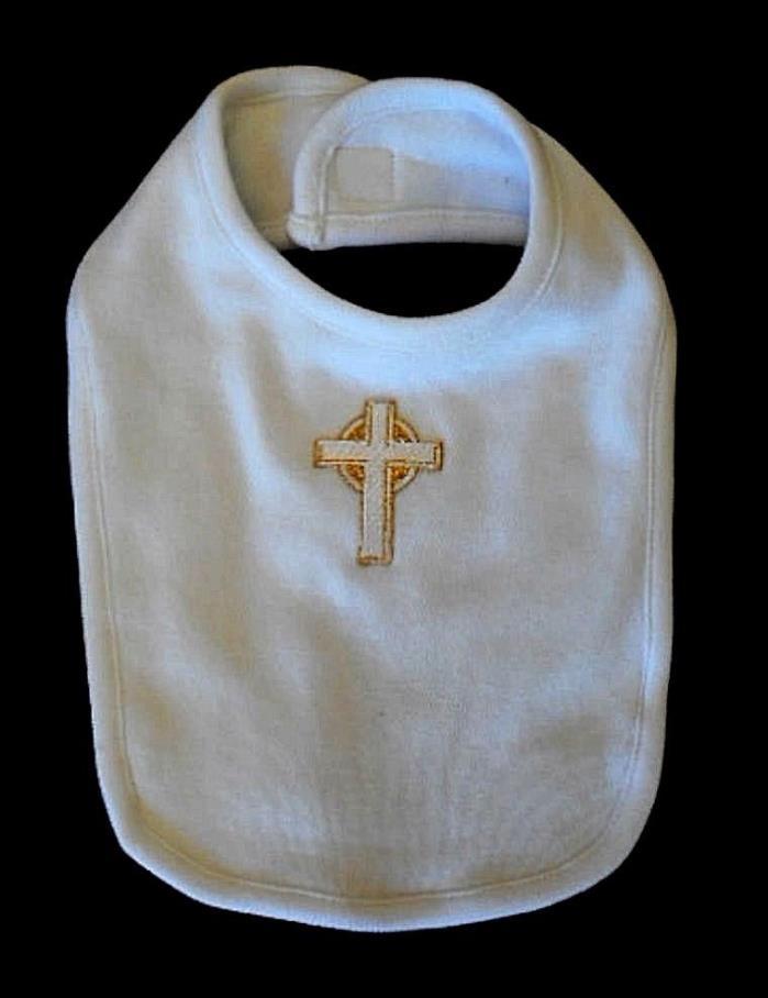 Christening Baptism Bib - White Cotton Gold Cross - AMERICAN MADE