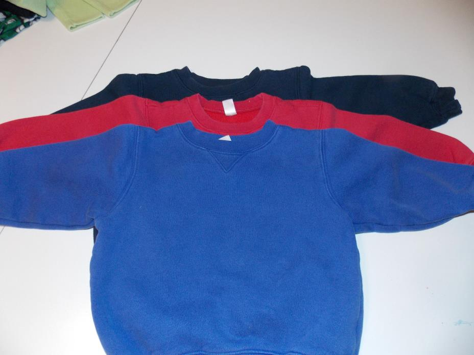 lot of 3 lands end sweatshirts boys 3t pullover blue navy read GUC cotton blend
