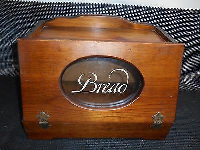 Antique Wood BREAD BOX Fold Down Lid Old Vtg Kitchen Decor Woodenware Wooden