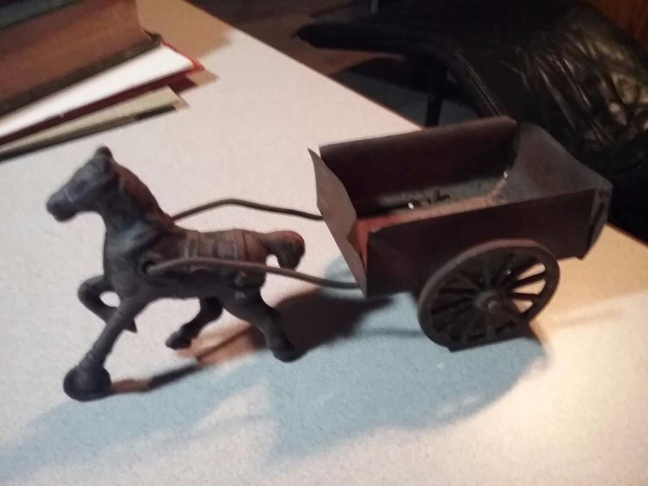 Vintage Cast Iron Horse With Tin Wagon, Toy, Original