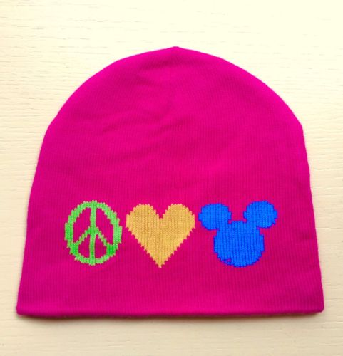 Walt Disney World Peace Love & Mickey Mouse Fluorescent Pink Knit Hat Beanie Cap