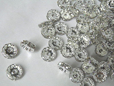 10x2mm Silver Plated Clear Rhinestone Rondelle Space Beads 50pcs Set R30