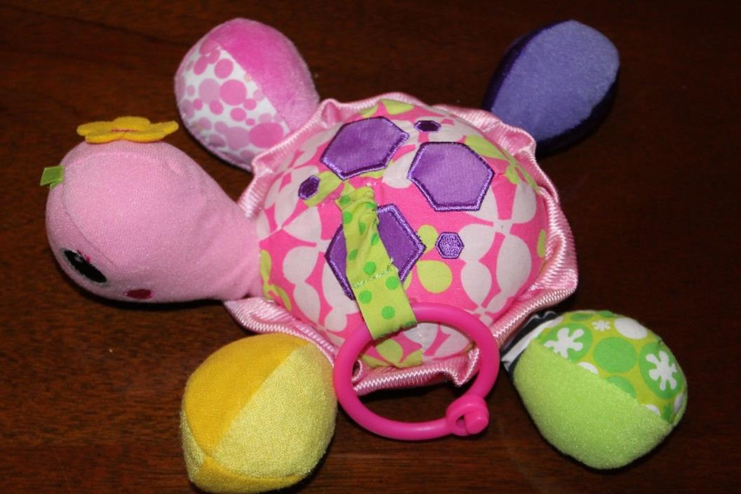 Infantino Sparkle Topsy Turtle Mirror Pal Pink Rattle Crinkly Peek a Boo