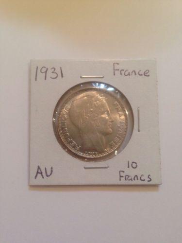1931 France 10 Francs AU Silver Coin