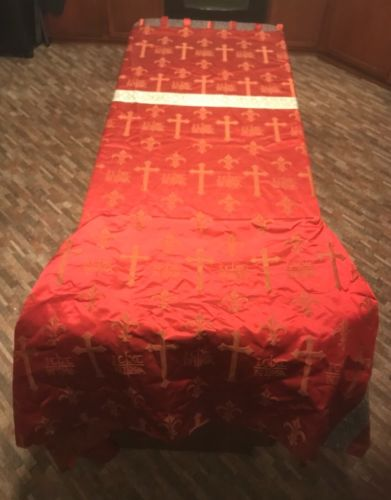 Large Antique Red Cross Silk Brocade Church Altar Frontal or Runner 9' EUC 1909
