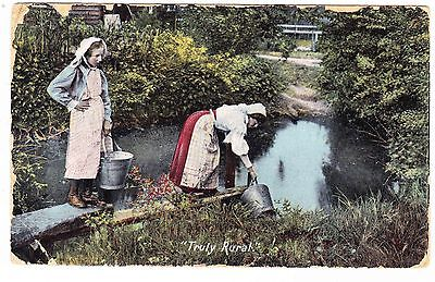 TRULY RURAL  WOMEN GETTING WATER OUT OF CREEK  1909  POSTCARD