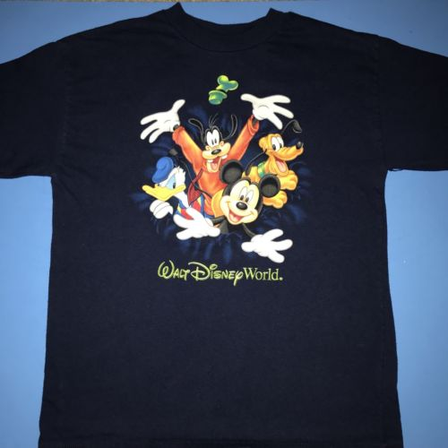 WALT DISNEY WORLD BY HANES NAVY BLUE YOUTH T-SHIRT SIZE MEDIUM WITH CHARACTERS
