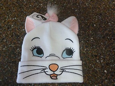 Disney Aristocats Marie Hat Knit Beanie w Ears, Faux Fur Pom NWT One Size Disney