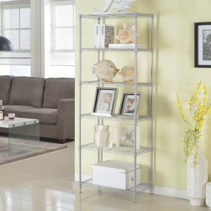 LANGRIA 6 Tier Silver Wire Shelving Unit Organization and Storage Rack 5 Hooks