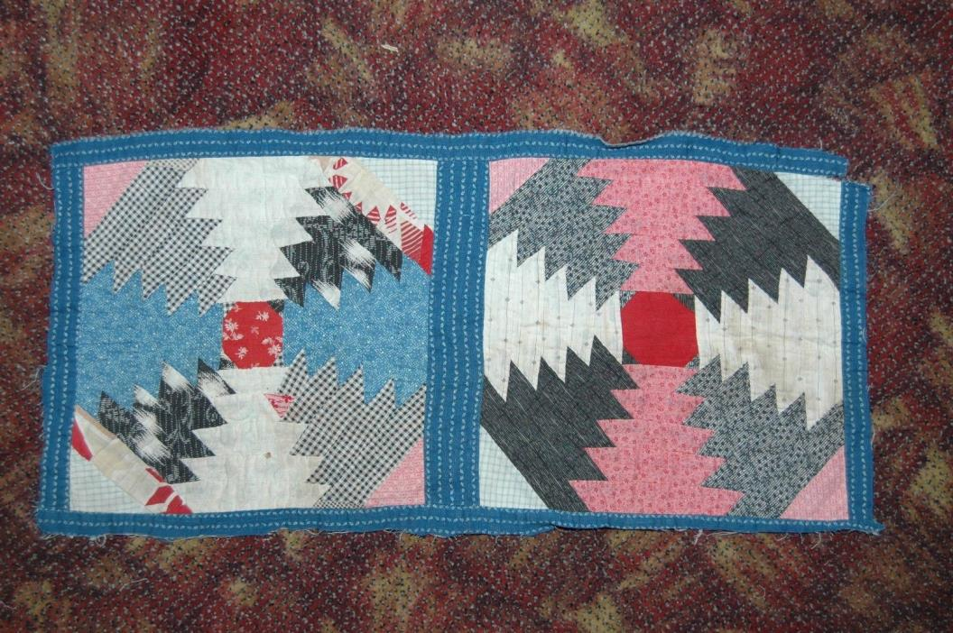 Antique Pineapple Cotton Patchwork Quilt Block Repurpose