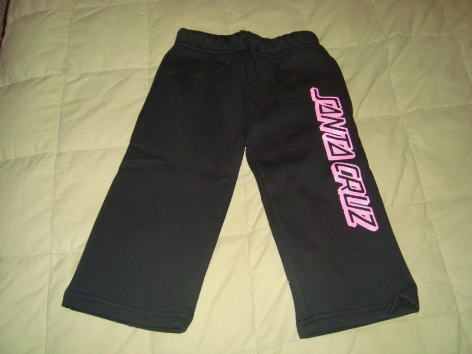 Santa Cruz SC Stripe Black Sweatpants Girls Sz. 18M NEW Cotton Sweats Pants Pink