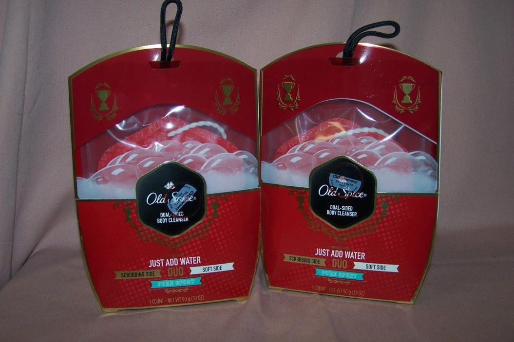 (2) Old Spice Dual-Sided Body Cleanser Pure Sport Duo 2-Sided NEW in Packs
