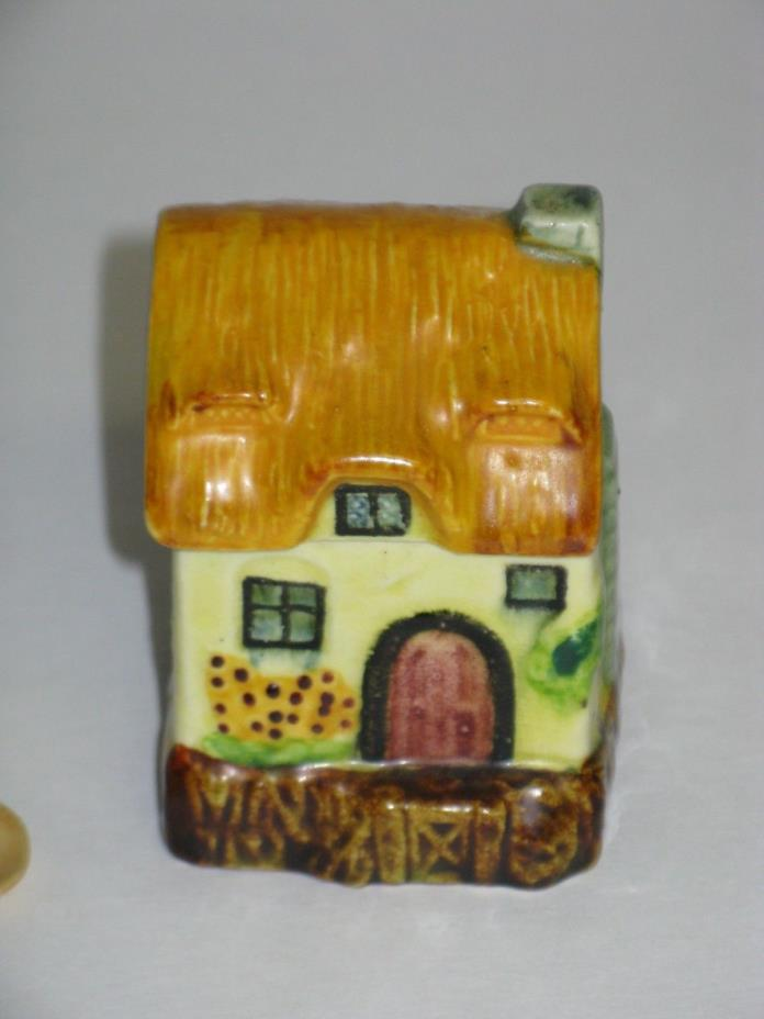 VINTAGE SMALL  POTTERY COTTAGE MARUTOMOWARE SALT DISH WITH SPOON