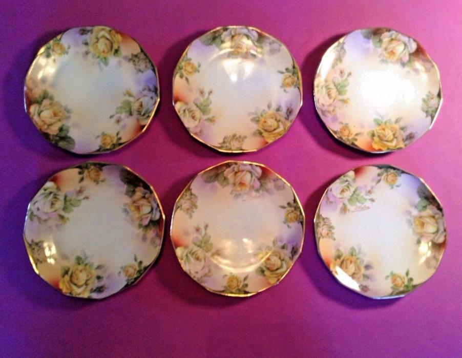 6 Small Royal Rudolstadt Plates - Hand Painted - Signed - Yellow Roses - Prussia