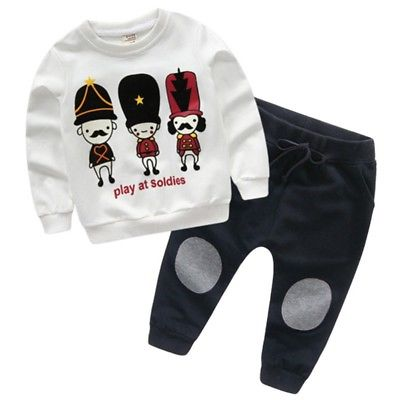 US 2pcs Toddler Kids Baby Boys Girls Sweater Pullover Top+Pants Outfit Clothes