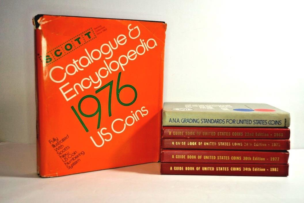 Lot(6)  Guide Books To United States Coins 20th Edition, 69,75,77,81 + (2) Books