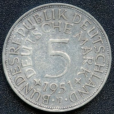 1951 'F' Germany 5 Mark Silver Coin ( 11.2 Grams .625 Silver )