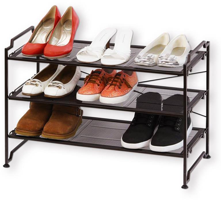 Bronze 3 Tier Shelf Stackable Closet Shoes Organizer Rack Shoe Space Storage New