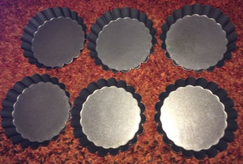 6 Tart / Tartlet Fluted Pie Molds 3 1/4