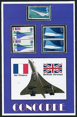 CONCORDE POSTCARD DISPLAYING THE THREE 1969 UK CONCORDE STAMPS * VAR. 3 >