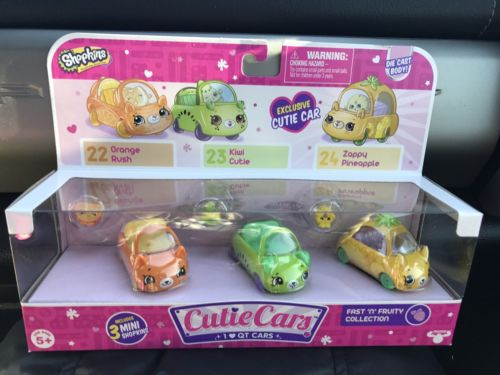 Shopkins ~ Fast N Fruity ~ Cutie Cars 3 pack  #22 #23 #24 EXCLUSIVE Zappy