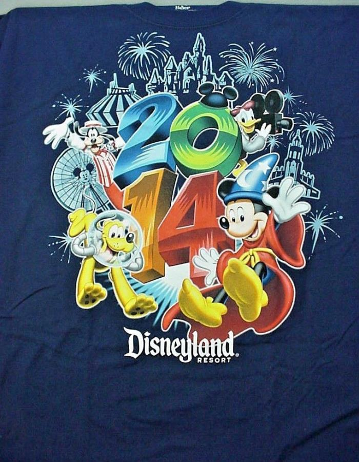 2014 Navy Blue DISNEYLAND RESORT T-Shirt - Adult Large - NEW NWT