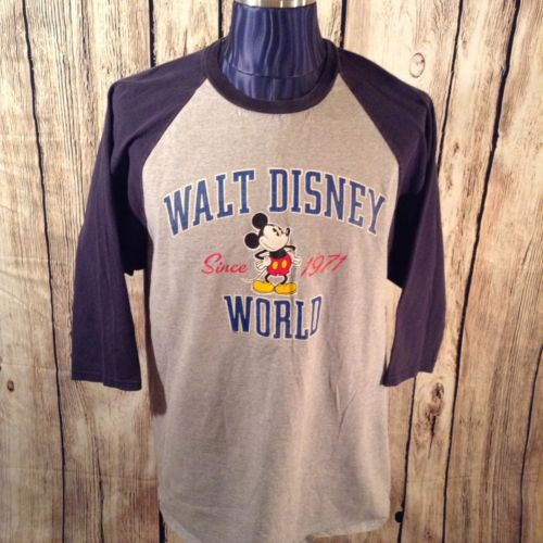 Walt Disney World Graphic T-Shirt 2XL Half Sleeve Gray/Blue Mickey Mouse I1-53