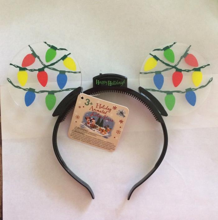 BNWT Disney Parks Holiday Animated Glow Lights Christmas Mickey Ears Headband