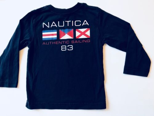NAUTICA  Kids Toddler Boys T-shirt Top Size 3T Navy Blue Long Sleeve Cotton