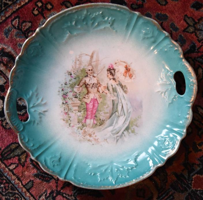 ANTIQUE VICTORIAN COURTING COUPLES PLATE AQUA BLUE CAKE PLATE BIRDS HANDLES 10.5